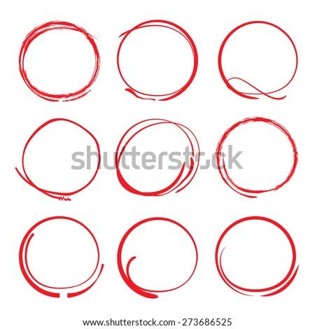 vector set of red circles, highlight marker - stock vector