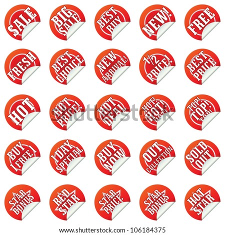 vector set of red discount and sale stickers and labels - stock vector