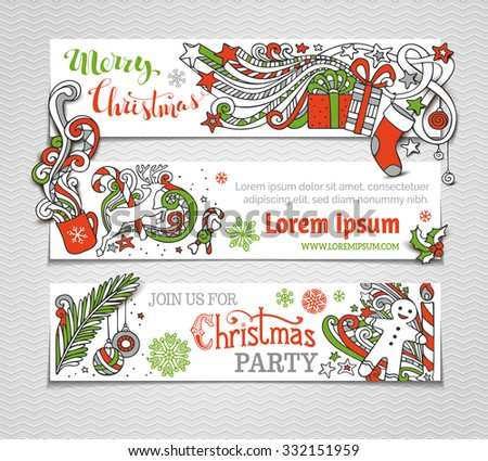 Vector set of red, green and white Christmas banners. Christmas tree and baubles, Santa sock, hat and beard, mistletoe, snowman, swirls and hand-written text, gingerbread man, sweets, ribbons. - stock vector