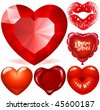 Vector set of Red Hearts - stock vector