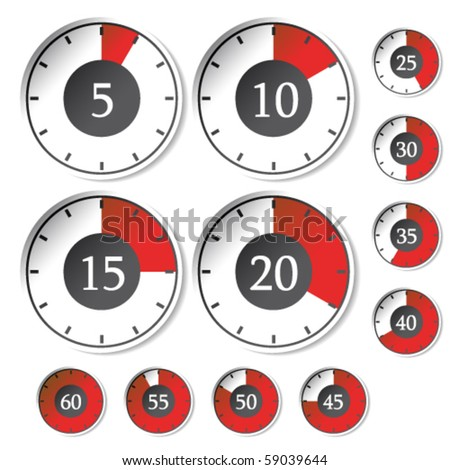 Vector set of red timers - stock vector