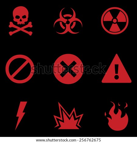 Vector Set of Red Warning Icons on Black Background - stock vector
