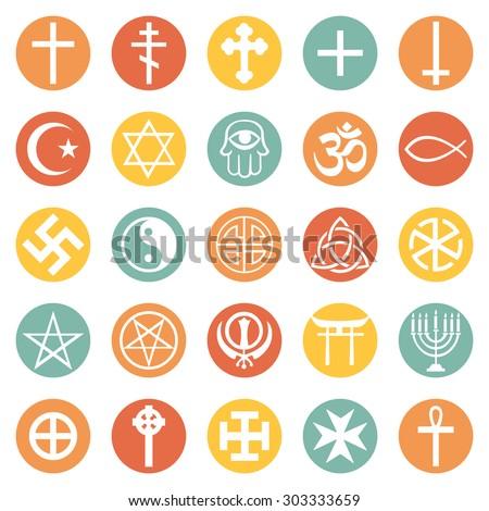 Vector Set of Religious Symbols - stock vector