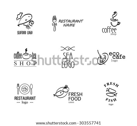Vector set of restaurant, cafe, bar, catering logo design isolated on white background. Eco food, fast food, sushi, pizza icons, fish and Italian sea food company insignia. Coffee, tea. Dish elements. - stock vector