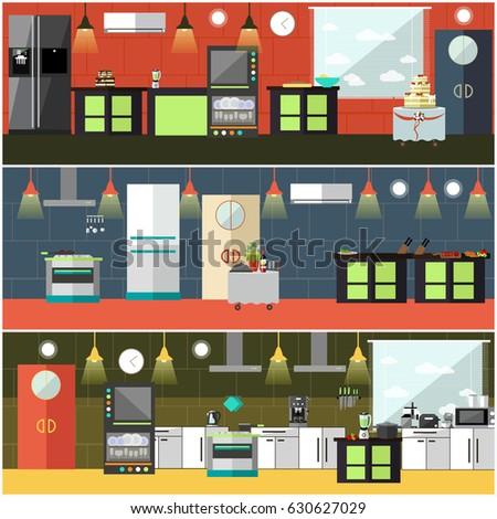 Restaurant Kitchen Accessories vector banner restaurant interiors kitchen dining stock vector