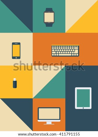 Vector set of retro and vintage items  - stock vector