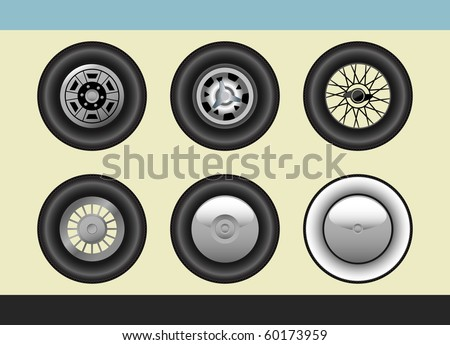 Vector set of retro car wheels - stock vector