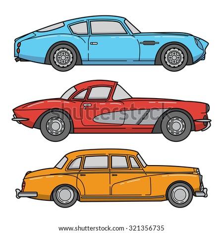 vector set of retro cars. vintage autos illustration - stock vector