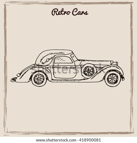 Vector set of retro cars.Vintage autos illustration. Hand drawn