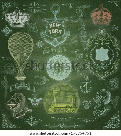 Vector. Set of retro elements: baroque frames, retro labels, transport,  nautical. Chalk style - stock vector