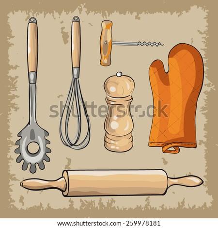 vector set of retro kitchenware - stock vector