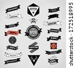 Vector set of retro label, bubble, button and icon. - stock vector