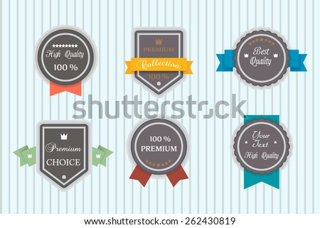 Vector set of retro labels, buttons and icons. - stock vector