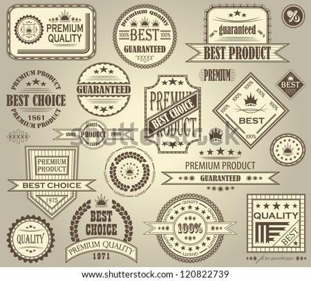 Vector set of retro labels. Vintage design - stock vector