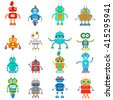 Vector set of retro robots in flat style, vintage cute robots. Toy robots vector - stock vector