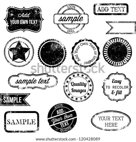 Vector Set of Retro Stamps and Badges - stock vector
