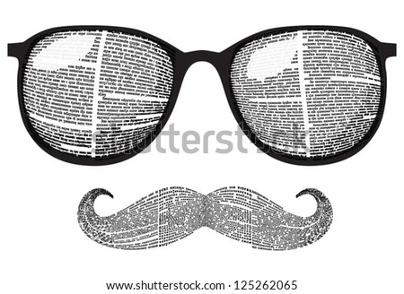 Vector set of retro sunglasses and mustaches silhouette with newspaper columns texture. All texts are unreadable. - stock vector
