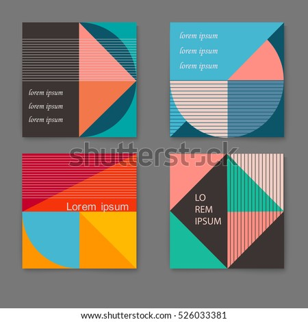 Vector set of retro trendy cards with geometric shapes. Template layout, cover design, poster, flyer