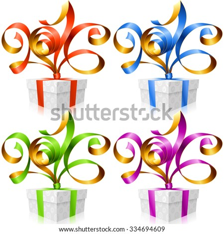 Vector set of ribbons and gift boxes. Symbol of New Year 2016 - stock vector