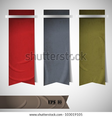 Vector set of ribbons bookmarks - stock vector
