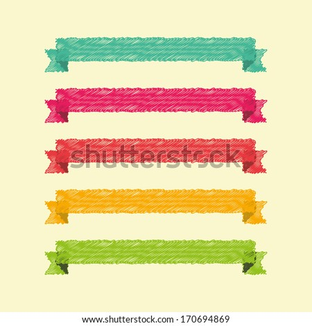 vector set of ribbons for presentations and infographics - stock vector