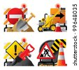 Vector set of roadwork icons with signboards and tools - stock vector