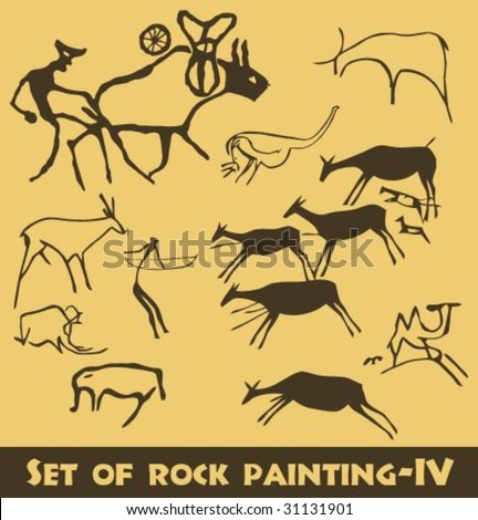 Vector set of rock painting-IV - stock vector