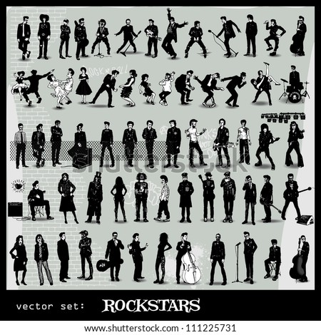 vector set of rockstars - stock vector
