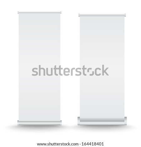 Vector set of roll up banner on isolated white background - stock vector