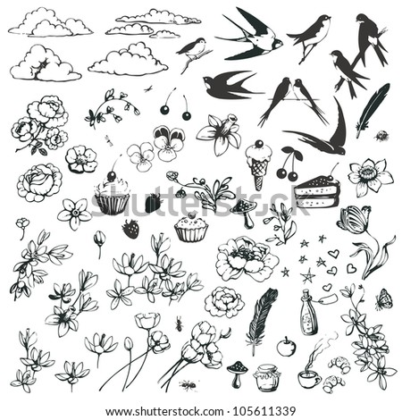 Vector set of romantic doodles isolated on white background. - stock vector