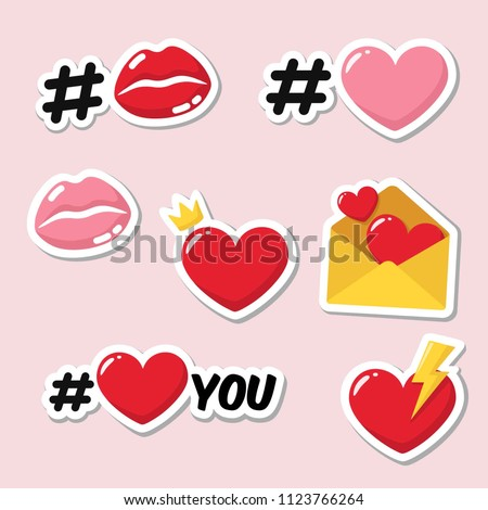 vector set romantic love stickers icons stock vector royalty free