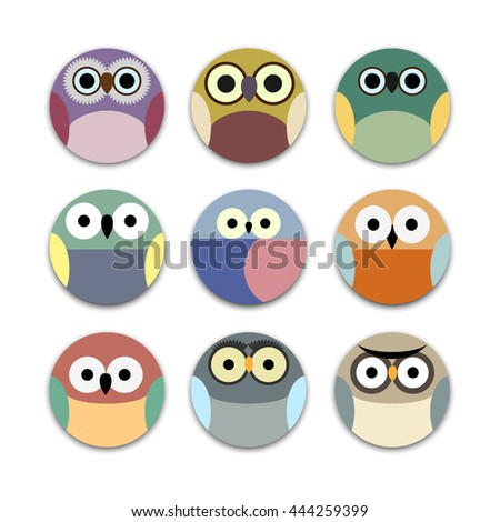 Vector set of round app icons cute owls  - stock vector