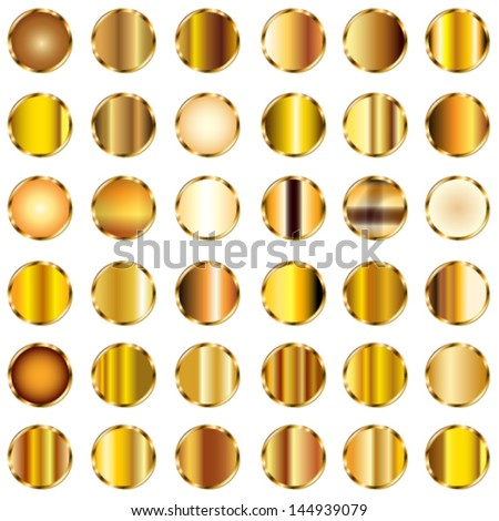 Vector set of round gold gradients buttons. - stock vector