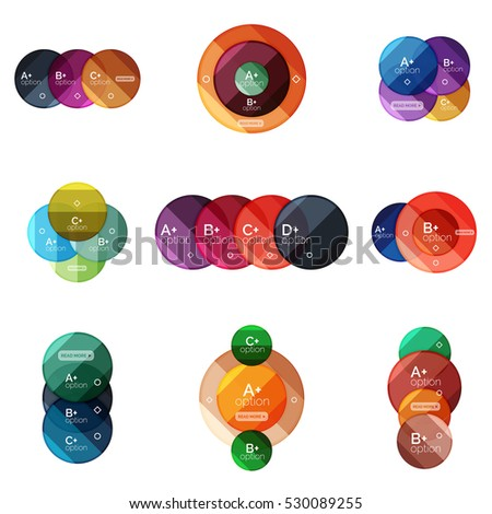 Vector set of round infographic banners with options