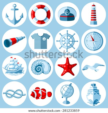 Vector set of round Nautical and marine icons in flat style.  - stock vector