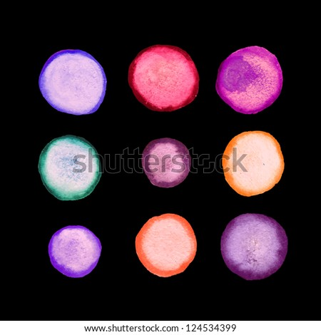 Vector set of round watercolor stains. Watercolor circles background isolated on white. Set of circle watercolor stains - stock vector