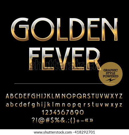 Vector set of royal golden alphabet letters, numbers and punctuation symbols. Art Deco style - stock vector