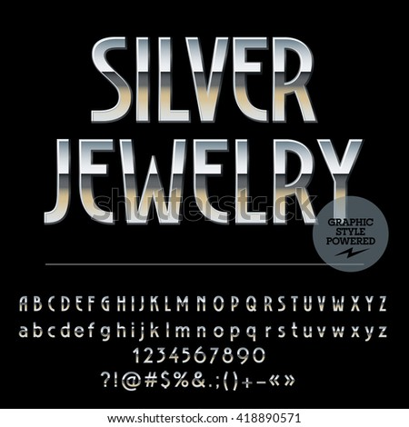 Vector set of royal silver alphabet letters, numbers and punctuation symbols. Art Deco thin style - stock vector