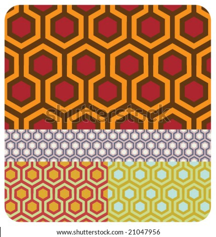 VECTOR Set of 4 70s style colour versions of the beehive pattern ~ seamless. - stock vector