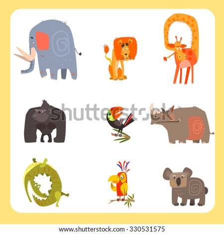 Vector set of Safari animals and birds in flat style