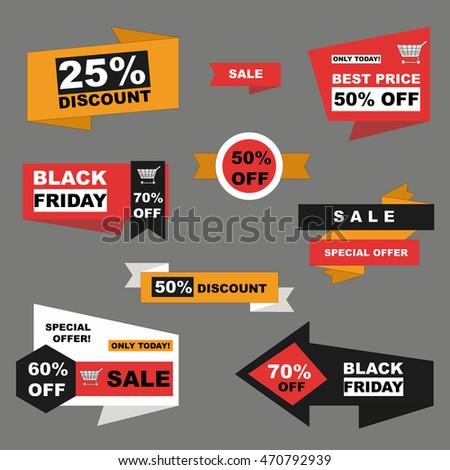Vector set of sale and  black friday labels on grey background. Discount stickers.