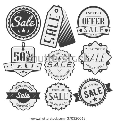 Vector set of sale and discount labels, badges, tags and icons. Special offer illustration. Design elements, emblems and stickers in monochrome style. - stock vector