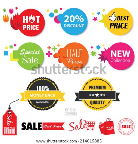 Vector : Set of  sale stickers. EPS10. - stock vector