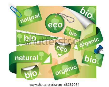 Vector set of sale tags - nature theme - stock vector