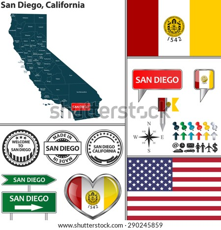 Vector set of San Diego, California in USA with flag and icons on white background - stock vector