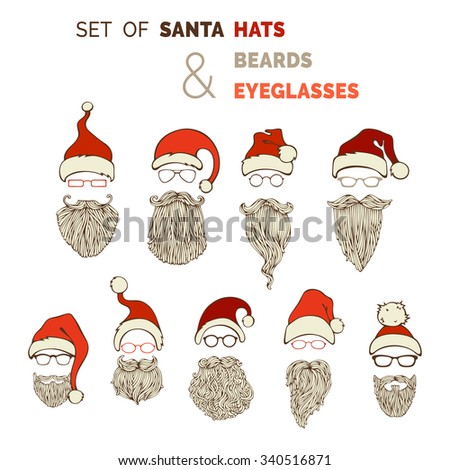 Vector set of Santa hats, moustache, beards and eyeglasses. Various Christmas design elements isolated on white background. - stock vector