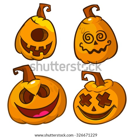 Vector set of scary Halloween pumpkins head isolated on white - stock vector