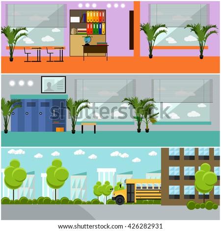 Vector set of school concept banners. School interior, classroom, school yard, building and school bus. - stock vector