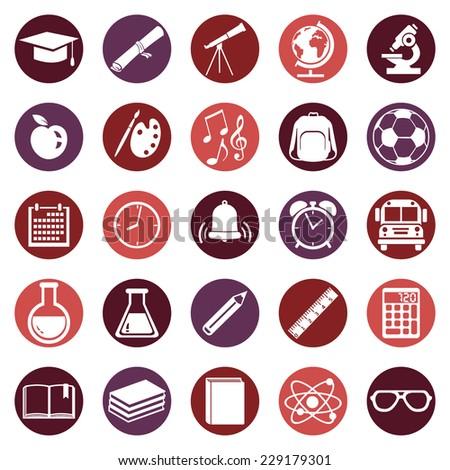 Vector Set of  School Icons - stock vector