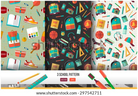 Vector set of 3 school seamless pattern. Back to school illustration on notebook paper background. High school object college items in flat style. - stock vector